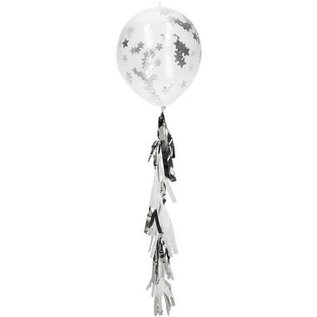 Confettie Ballonnen Sterren Confetti Ballonnen met Tassel Slinger - zilver- 3stk