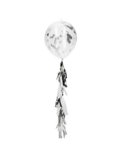 Sterren Confetti Ballonnen met Tassel Slinger  - Zilver- 3stk