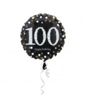 Folieballon Sparkling Zwart/Goud 100 Jaar