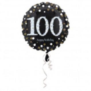 Folieballonnen Zwart Gouden Sparkling 100 Jaar Folieballon