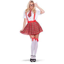 Kostuums Nerd Schoolmeisje Kostuum - S/M