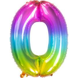 Folieballonnen Folieballon Rainbow - Cijfer 0