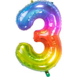 Folieballonnen Folieballon Rainbow - Cijfer 3