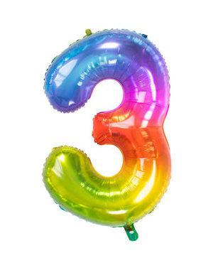 Folieballon Rainbow - Cijfer 3