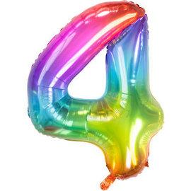 Folieballonnen Folieballon Rainbow - Cijfer 4