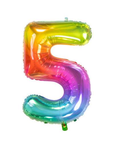 Folieballon Rainbow - Cijfer 5