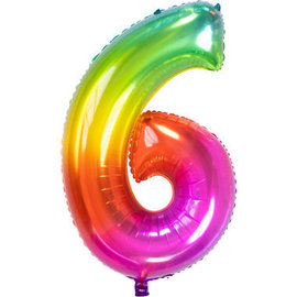 Folieballonnen Folieballon Rainbow - Cijfer 6