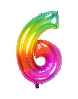 Folieballon Rainbow - Cijfer 6