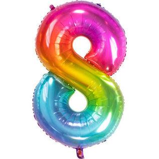 Folieballonnen Folieballon Rainbow - Cijfer 8