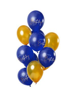 Elegant True Blue Ballonnen  Happy Birtyhday-12stk