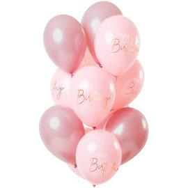 Ballonnen Latex Elegant Lush Blush Ballonnen Happy Birthday -12stk
