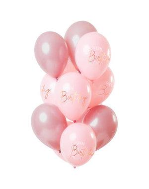 Elegant Lush Blush Ballonnen Happy Birthday -12stk