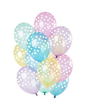 Pastel Transparant Mix Ballonnen - 12stk