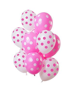 Roze Stippen Mix Ballonnen - 12stk