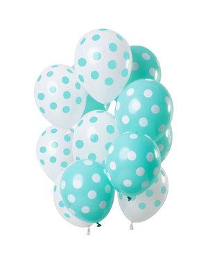 Groene  Stippen Mix Ballonnen - 12stk