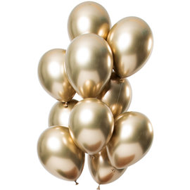 Ballonnen Latex Mirror Chrome Balllonnen Goud - 12stk