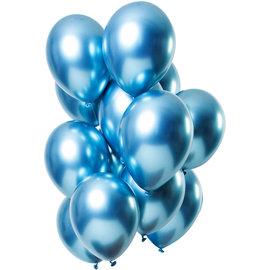 Ballonnen Latex Mirror Chrome Ballonnen Blauw - 12stk