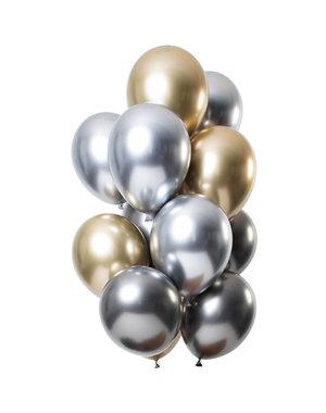 Mirror Chrome Ballonnen Onyx Mix- 12stk