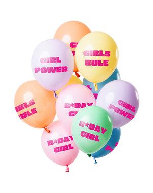 Birthday Girl Pastel Balonnen Mix - 12stk
