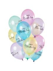 Ballonnen Latex Happy Birthday Pastel Ballonnen Mix - 12stk