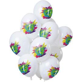 Ballonnen Latex Color Splash Ballonnen 1 t/m 12 Jaar Mix - 12stk