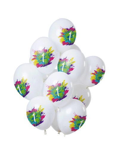 Color Splash Ballonnen 1 t/m 12 Jaar Mix - 12stk