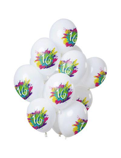 Color Splash Ballonnen 16 t/m 100 Jaar - 12stk