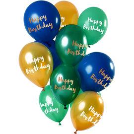 Ballonnen Latex Happy Birthday Ballonnen Mix Groen/Goud - 12stk