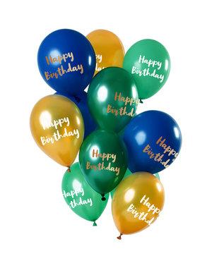 Happy Birthday Ballonnen Mix Groen/Goud - 12stk