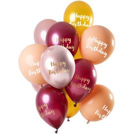 Ballonnen Latex Happy Birthday Ballonnen Mix Roze/Goud - 12stk