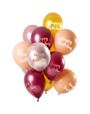 Happy Birthday Ballonnen Mix Roze/Goud - 12stk