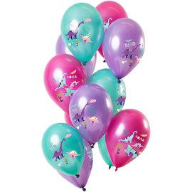 Ballonnen Latex Dino Girl Ballonnen Mix - 12stk