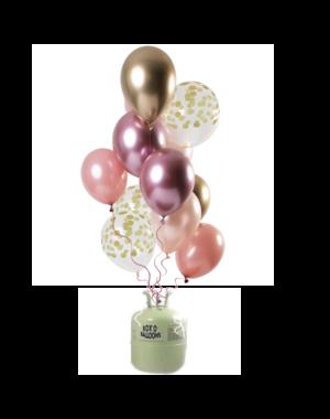 Helium Tank met Golden Blush Mix Ballonnen
