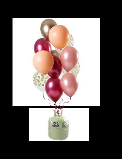 Helium Tank met Rich Ruby Mix Ballonnen