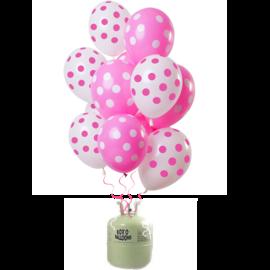 Helium Pakket Helium Tank met Roze Stippen Mix Ballonnen