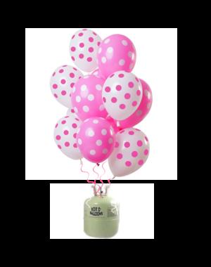 Helium Tank met Roze Stippen Mix Ballonnen