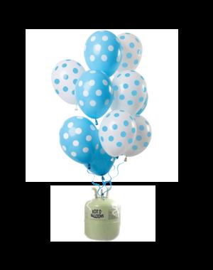Helium Tank met Blauwe Stippen Mix Ballonnen