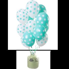 Helium Pakket Helium Tank met Mint Groene Stippen Mix Ballonnen
