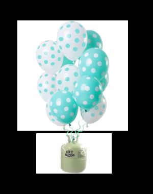 Helium Tank met Mint Groene Stippen Mix Ballonnen