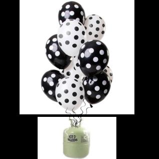 Helium Pakket Helium Tank met Zwarte Stippen Mix Ballonnen