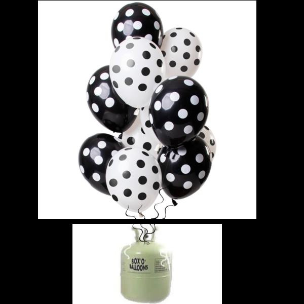 Helium Tank met Zwarte Stippen Mix Ballonnen