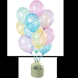 Helium Pakket Helium Tank  met Transparante Pastel Stippen Mix Ballonnen