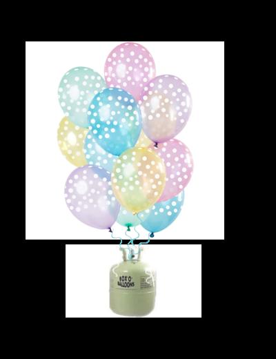 Helium Tank  met Transparante Pastel Stippen Mix Ballonnen