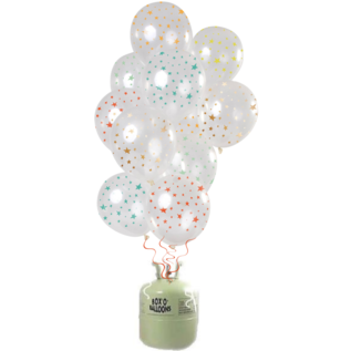 Helium Pakket Helium Tank met Transparante Sterren  Mix Ballonnen