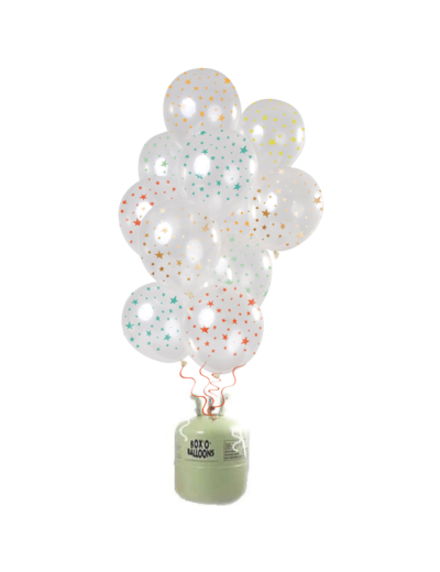 Helium Tank met Transparante Sterren Mix Ballonnen