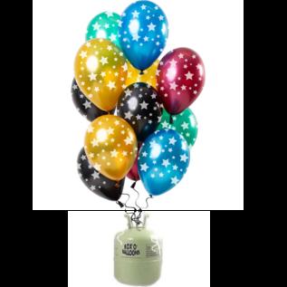 Helium Pakket Helium Tank met Metallic Sterren  Mix Ballonnen
