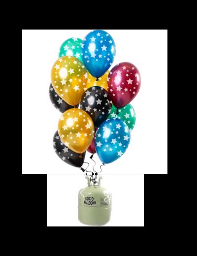 Helium Tank met Metallic Sterren Mix Ballonnen