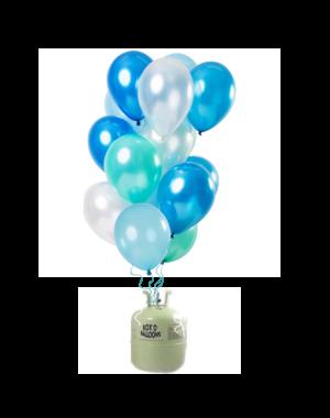 Helium Tank met Blue Azure Mix Ballonnen