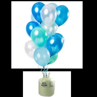Helium Pakket Helium Tank met Blue Azure Mix Ballonnen