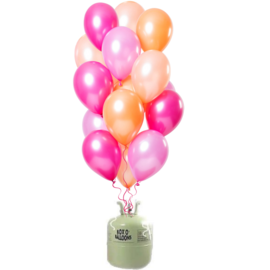 Helium Pakket Helium Tank met Peachy Flamingo Mix Ballonnen